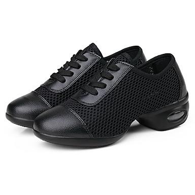 สำหรับผู้หญิง รองเท้าเต้นรำ ตารางไขว้ รองเท้าผ้าใบสำหรับเต้นรำ Splicing รองเท้าผ้าใบ ส้นแบน ตัดเฉพาะได้ สีดำ / Performance / ฝึก