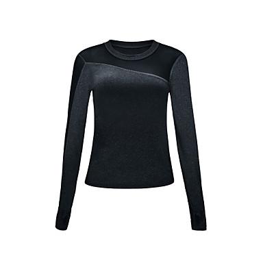 สำหรับผู้หญิง ลายต่อ โยคะยอดนิยม สีทึบ โยคะ วิ่ง การออกกำลังกาย Tops แขนยาว ชุดทำงาน Sweat-wicking ผสมยางยืดไมโคร เพรียวบาง