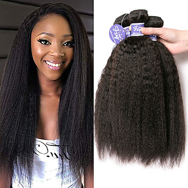 3 Bundles / กลุ่ม ผมเปรู Yaki Straight ไม่ได้เปลี่ยนแปลง 100% Remy Hair Weave Bundles เครื่องประดับศรีษะ มนุษย์ผมสาน มัดผม 8-28 inch สีธรรมชาติ สานเส้นผมมนุษย์ Odor Free