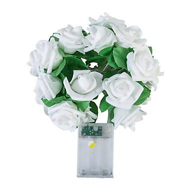 billige Originalt-novelty 20 led rose steg blomst snor fe lyser bryllup hjem fødselsdag valentinsdag begivenhed fest krans indretning luminaria