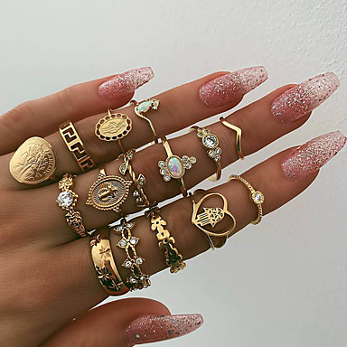 billige Motering-Dame Statement Ring Ring Set Midi Ring Syntetisk Opal 15pcs Gull Fuskediamant Legering Oval Statement Bohemsk Fest Daglig Smykker Mynt Kors Hjerte Stjerne Søtt