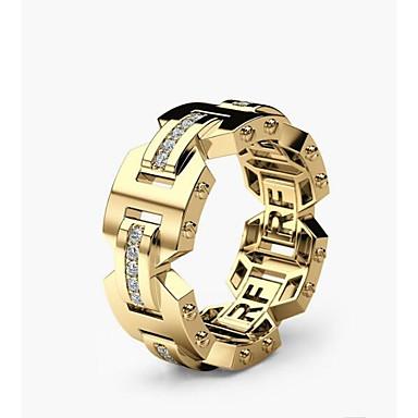 levne Pánské šperky-Pánské Dámské Zásnubní prsten 1ks Zlatá Růžové zlato Měď Geometric Shape stylové Zásnuby Denní Šperky Klasika Radost Ostří nože Půvab