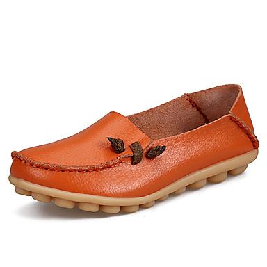 สำหรับผู้หญิง รองเท้าส้นเตี้ยทำมาจากหนังและรองเท้าสวมแบบไม่มีเชือก ส้นแบน ปลายกลม ยาง / หนัง คลาสสิก / ไม่เป็นทางการ ฤดูใบไม้ผลิ & ฤดูใบไม้ร่วง สีดำ / สีแดงสว่าง / สีเขียว / ทุกวัน
