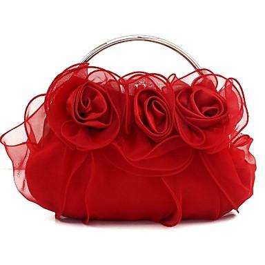 สำหรับผู้หญิง ลูกไม้ / ดอกไม้ ผ้าไหม กระเป๋าราตรี สีทึบ แชมเปญ / ทับทิม / ฤดูใบไม้ร่วง & ฤดูหนาว