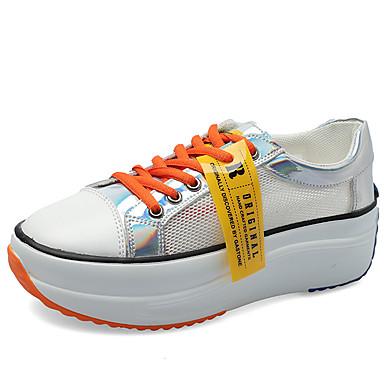 สำหรับผู้หญิง รองเท้าผ้าใบ รองเท้าบู้ทส้นเตารีด ปลายกลม ตารางไขว้ ไม่เป็นทางการ / minimalism วสำหรับเดิน ตก / ฤดูร้อนฤดูใบไม้ผลิ ขาว / สีเหลือง