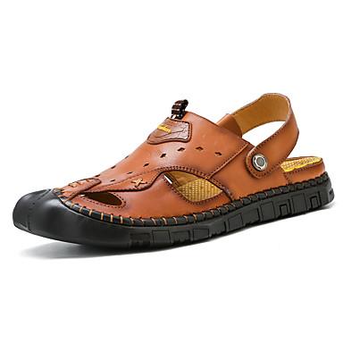 สำหรับผู้ชาย รองเท้าสบาย ๆ แน๊บป้า Leather ฤดูร้อนฤดูใบไม้ผลิ Sporty / ไม่เป็นทางการ รองเท้าแตะ ระบายอากาศ สีดำ / สีน้ำตาล / กลางแจ้ง