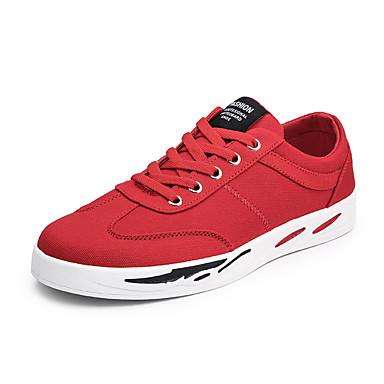 สำหรับผู้ชาย รองเท้าสบาย ๆ ผ้าใบ ฤดูร้อนฤดูใบไม้ผลิ ไม่เป็นทางการ รองเท้าผ้าใบ วสำหรับเดิน สวมหลักฐาน ขาว / แดง / กลางแจ้ง
