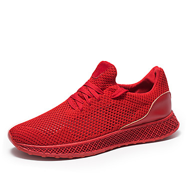สำหรับผู้ชาย Light Soles ตารางไขว้ ฤดูร้อน Sporty / ไม่เป็นทางการ รองเท้ากีฬา สำหรับวิ่ง / วสำหรับเดิน ระบายอากาศ สีดำ / สีเทา / แดง