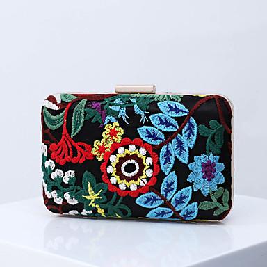 สำหรับผู้หญิง ลายปัก / ดอกไม้ เส้นใยสังเคราะห์ / โลหะผสม กระเป๋าราตรี การเย็บปักถักร้อย สีดำ / สีน้ำเงิน / ฤดูใบไม้ร่วง & ฤดูหนาว
