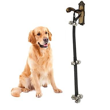 สุนัข เชือกจูงสุนัข เดินเท้า แขนกระดิ่ง สีพื้น ไนลอน สีดำ