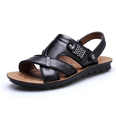 สำหรับผู้ชาย รองเท้าสบาย ๆ แน๊บป้า Leather ฤดูร้อน รองเท้าแตะ สีดำ / สีน้ำตาลอ่อน / น้ำตาลเข้ม