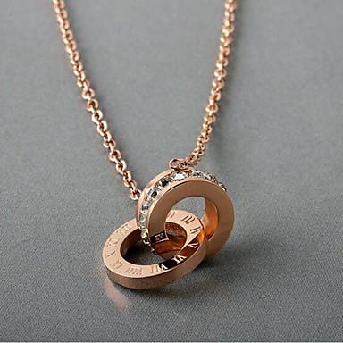 povoljno Modne ogrlice-Žene Ogrlice s privjeskom crossover Romantični Elegantno Titanium Steel Imitacija dijamanta Rose Gold 45.5 cm Ogrlice Jewelry 1pc Za Dnevno