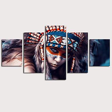 povoljno Ukrašavanje zidova-Print Stretched Canvas Prints - Etnički Glamurozna Klasik Tradicionalno Pet ploha Umjetničke grafike