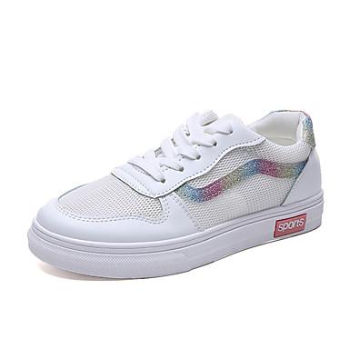 สำหรับผู้หญิง รองเท้าผ้าใบ ส้นแบน ตารางไขว้ ฤดูร้อน สีเงิน / สีชมพู