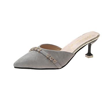 สำหรับผู้หญิง PU ฤดูใบไม้ผลิ minimalism รองเท้าไม้ & รองเท้าหัวทู่ ส้นลูกแมว Pointed Toe สีเทา / แดง / สีกากี