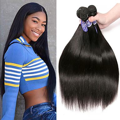 3 Bundles / กลุ่ม ผมอินเดีย Straight 100% Remy Hair Weave Bundles เครื่องประดับศรีษะ มนุษย์ผมสาน มัดผม 8-28 inch สีธรรมชาติ สานเส้นผมมนุษย์ Odor Free ทอ ธรรมชาติ ส่วนขยายของผมมนุษย์