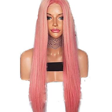 วิกผมสังเคราะห์ลูกไม้ด้านหน้า Straight ตอนกลาง มีลูกไม้ด้านหน้า ผมปลอม สีชมพู ยาว Pink สังเคราะห์ 24 inch สำหรับผู้หญิง สามารถปรับได้ ทนต่อความร้อน ผู้หญิง สีชมพู