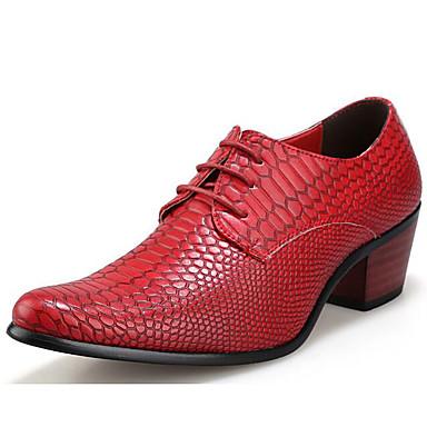 สำหรับผู้ชาย ใส่รองเท้า Synthetics ฤดูใบไม้ผลิ / ตก คลาสสิก / ไม่เป็นทางการ รองเท้า Oxfords ไม่ลื่นไถล สีดำ / สีน้ำตาล / แดง / รองเท้าสบาย ๆ