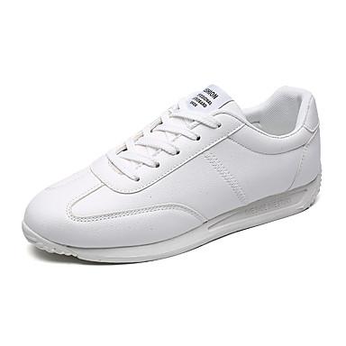 สำหรับผู้ชาย รองเท้าสบาย ๆ PU ฤดูร้อนฤดูใบไม้ผลิ Sporty / ไม่เป็นทางการ รองเท้าผ้าใบ สำหรับวิ่ง / วสำหรับเดิน สวมหลักฐาน สีดำและสีขาว / ขาวและเขียว / ขาว / กลางแจ้ง / Light Soles