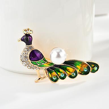 สำหรับผู้หญิง เข็มกลัด คลาสสิค Bird Peacock Cartoon หวาน แฟชั่น สไตล์พื้นบ้าน ไข่มุกเทียม เข็มกลัด เครื่องประดับ หลากสี สำหรับ การสำเร็จการศึกษา ของขวัญ ทุกวัน เทศกาลคานาวาล เทศกาล