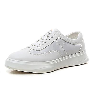 สำหรับผู้ชาย รองเท้าสบาย ๆ Microfibre ฤดูใบไม้ผลิ รองเท้าผ้าใบ สีดำ / ขาว