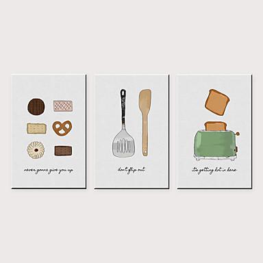 Print พิมพ์ผ้าใบรีด - อาหาร สมัยใหม่ คลาสสิก สามภาพ ศิลปะภาพพิมพ์