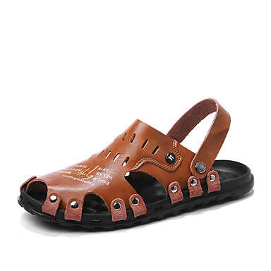 สำหรับผู้ชาย รองเท้าสบาย ๆ หนัง ฤดูร้อนฤดูใบไม้ผลิ Sporty / ไม่เป็นทางการ รองเท้าแตะ ระบายอากาศ สีดำ / สีน้ำตาล