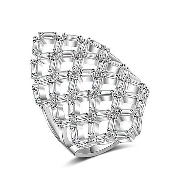 voordelige Dames Sieraden-Dames Ring Verlovingsring Zirkonia 1pc Zilver Koper Stijlvol Artistiek Feest Verloving Sieraden X-ring Cool