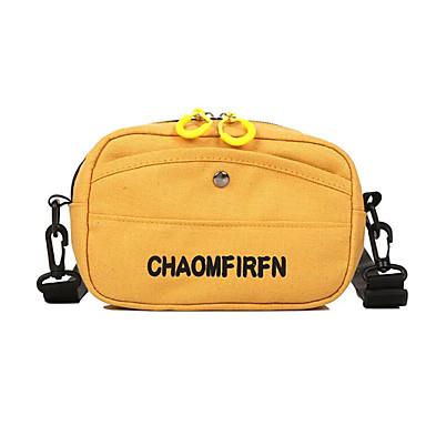 สำหรับผู้หญิง ผ้าใบ Crossbody Bag กระเป๋าผ้าแคนวาส ลายตัวอักษร สีดำ / ขาว / สีเหลือง / ฤดูใบไม้ร่วง & ฤดูหนาว