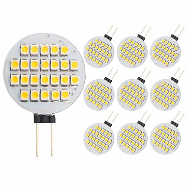 10pcs 3 W หลอดเสียบคู่ LED 300 lm G4 24 ลูกปัด LED SMD 2835 ตกแต่ง ขาวนวล 12 V