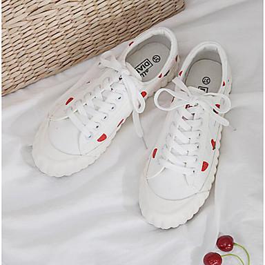 สำหรับผู้หญิง รองเท้าผ้าใบ ส้นแบน ปลายกลม ผ้าใบ ไม่เป็นทางการ ฤดูร้อนฤดูใบไม้ผลิ ขาว / คริสตัล