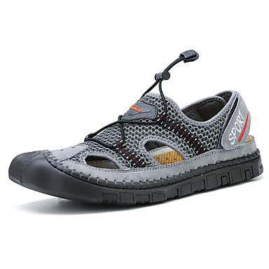 สำหรับผู้ชาย รองเท้าสบาย ๆ แน๊บป้า Leather / ตารางไขว้ ฤดูร้อนฤดูใบไม้ผลิ Sporty / ไม่เป็นทางการ รองเท้าแตะ ระบายอากาศ สีดำ / สีเทา / สีกากี / กลางแจ้ง
