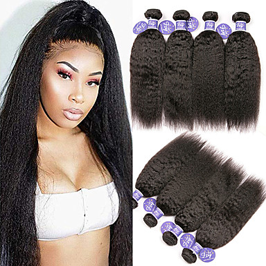 4 Bundles / กลุ่ม ผมบราซิล Yaki Yaki Straight ผมเวอร์จิน 100% Remy Hair Weave Bundles มนุษย์ผมสาน มัดผม ผมต่อแท้ 8-28 inch ธรรมชาติ สานเส้นผมมนุษย์ Odor Free การออกแบบทางด้านแฟชั่น คุณภาพที่ดีที่สุด