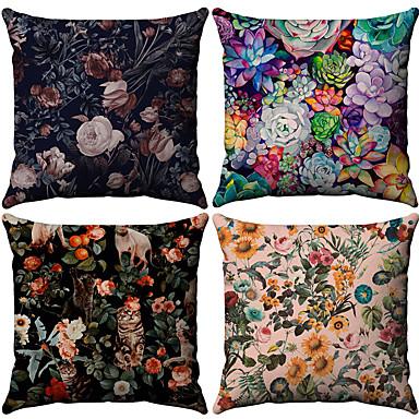 23 04 4 Pcs Cotton Linen Pillow Cover Fl Leaf Rustic Throw