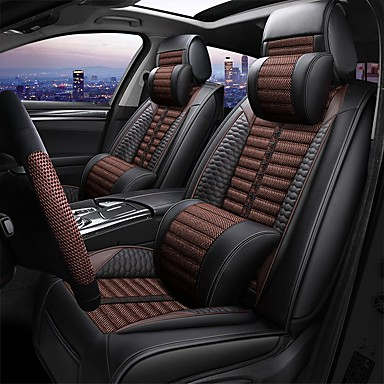 voordelige Auto-interieur accessoires-vier seizoenen universeel autostoelkussen met twee hoofdsteun, twee heupkussen en één stuurhoes / vlas en pu leer / airbag compatibiliteit / verstelbaar en afneembaar