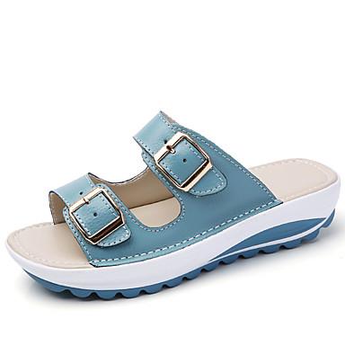 สำหรับผู้หญิง รองเท้าแตะ รองเท้าส้นตึก ยาง / หนัง คลาสสิก / ไม่เป็นทางการ ฤดูร้อน สีดำ / ขาว / ฟ้า