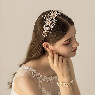 โลหะผสม headbands / เครื่องสวมศรีษะ กับ คริสตัล / ดอกไม้ / โลหะ 1 ชิ้น งานแต่งงาน / งานปาร์ตี้ / งานราตรี หูฟัง