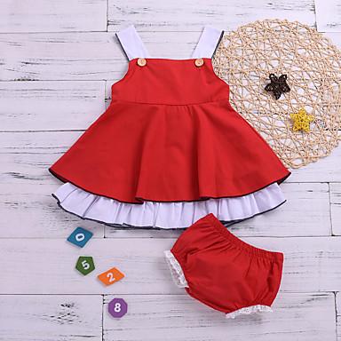 povoljno Odjeća za bebe-Dijete Djevojčice Aktivan / Osnovni Jednobojni Otvorena leđa Kratkih rukava Regularna Normalne dužine Pamuk Komplet odjeće Red