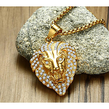 cheap Pendant Necklaces-Men's Cubic Zirconia Pendant Necklace Geometrical Animal Fashion Titanium Steel Gold 60 cm Necklace Jewelry 1pc For Gift Daily