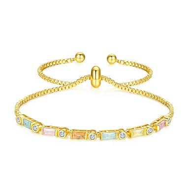 levne Dámské šperky-Dámské Kubický zirkon Náramek k zakřivení Klasika Šťastný stylové umělecké Jednoduchý Moderní Rokové Měď Náramek šperky Zlatá Pro Svatební Promoce Zásnuby Dar Práce