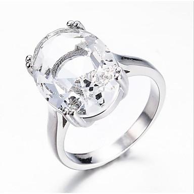 billige Motering-Dame Ring Løftering Akvamarin 1pc Hvit Lyseblå Kobber Oval Stilfull Fest Engasjement Smykker Klassisk Glede Kul