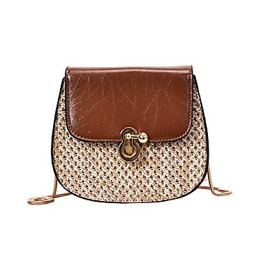 สำหรับผู้หญิง ซิป Straw / PU Crossbody Bag สีทึบ สีดำ / สีน้ำตาล / ขาว / ฤดูใบไม้ร่วง & ฤดูหนาว