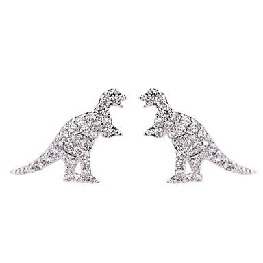 levne Dámské šperky-Dámské Křišťál Peckové náušnice 3D Draci Dinosaurus Jedinečný design Vintage Animák S925 Sterling Silver Náušnice Šperky Zlatá / Stříbrná Pro Dar Dovolená 1 Pair