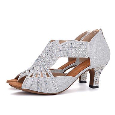 สำหรับผู้หญิง รองเท้าเต้นรำ Synthetics ลาติน Splicing ส้น ส้นป้าน ตัดเฉพาะได้ สีดำ / สีเงิน / สีชมพู / Performance / หนังสัตว์