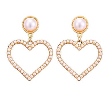 levne Dámské šperky-Dámské Visací náušnice Klasika Srdce stylové Náušnice Šperky Zlatá Pro Denní Dovolená 1 Pair