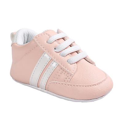 voordelige Babyschoenentjes-Meisjes Comfortabel / Eerste schoentjes PU Sneakers Zuigelingen (0-9m) Wit / Zwart / Roze en Wit Lente