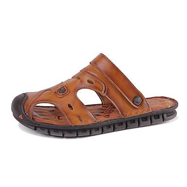 สำหรับผู้ชาย รองเท้าหนัง หนัง ฤดูร้อน ธุรกิจ / ไม่เป็นทางการ รองเท้าแตะ วสำหรับเดิน ระบายอากาศ สีดำ / สีน้ำตาลอ่อน / น้ำตาลเข้ม