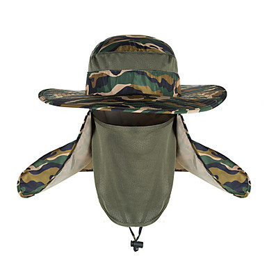 cheap Hunting & Nature-TCAHCC Hiking Hat Flap Hat Hiking Cap Fishing Cap Hat Camo UV Resistant Breathable UV 360° Solar Protection Spring Summer Removable Neck & Face Flap Cover Caps Camping Hiking Hunting Fishing