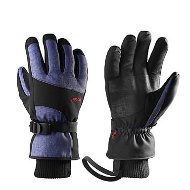 ถุงมือสกี สำหรับผู้ชาย สำหรับผู้หญิง กีฬาหิมะ เต็มนิ้วมือ ฤดูหนาว Velvet Flocked PU กีฬาหิมะ กีฬาฤดูหนาว