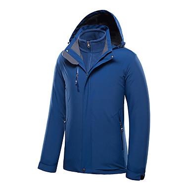 สำหรับผู้ชาย Hiking Jacket กลางแจ้ง ฤดูใบไม้ร่วง ฤดูหนาว กันน้ำ กันลม Warm แจ็คเก็ต 3 ใน 1 เดียว Tops เลื่อนสองด้าน การปีนหน้าผา แคมป์ปิ้ง / การปีนเขา / เที่ยวถ้ำ น้ำเงินเข้ม / สีฟ้า / สีเทา